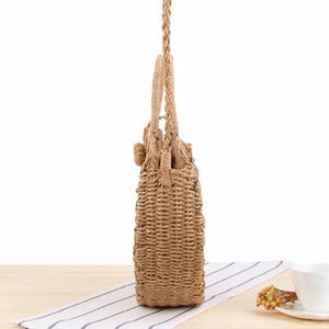 summer beige straw bag