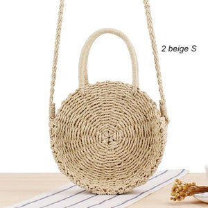 Light beige straw bag with handle and strap