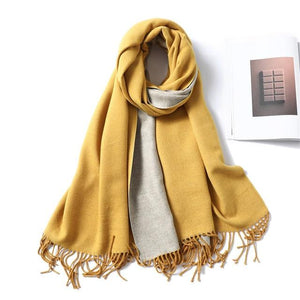 women Cashmere Scarf yellow