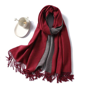 women Cashmere Scarf red wine