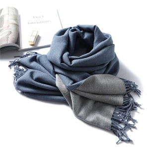 women Cashmere Scarf sea blue