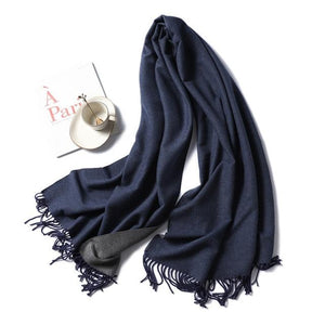 winter Cashmere Scarf dark blue