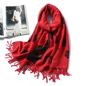 women Cashmere Scarf red wine floral