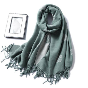 winter Cashmere Scarf smok grey floral