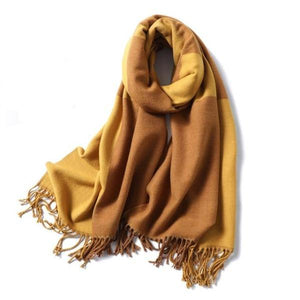 winter Cashmere Scarf yellow and brown plaids