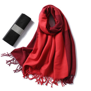 women Cashmere Scarf red plaids