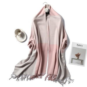 women Cashmere Scarf pink and biege
