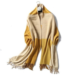 women Cashmere Scarf yellow plaids