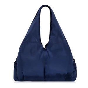 Blue tote bag nylon multiple pocket bottle holder
