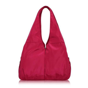 Rose red tote bag nylon multiple pocket bottle holder