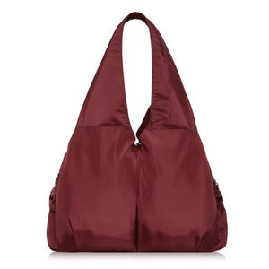 Burgundy tote bag nylon multiple pocket bottle holder