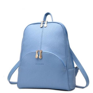 light blue small leather backpack