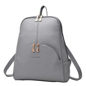 Gray small leather backpack