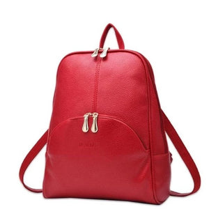 Red small leather backpack