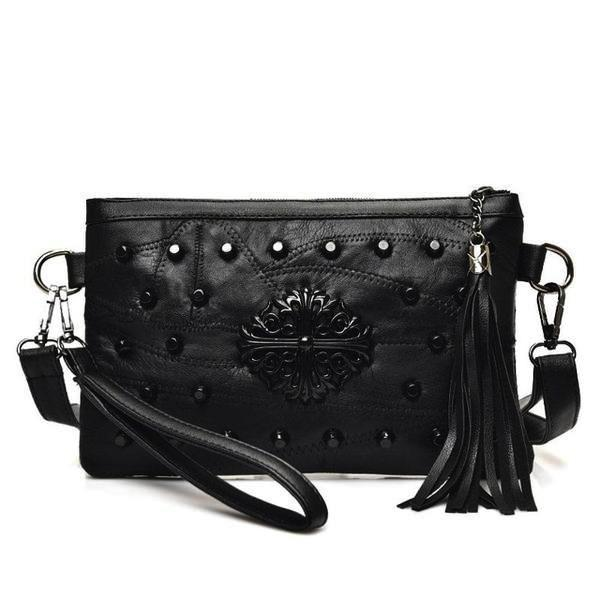 Black crossbody clutch with rivets