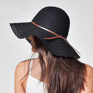 Black cute summer cotton hats for women with leather band