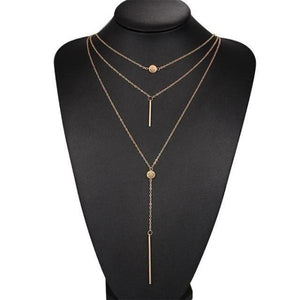 Gold vertical gold bar necklace