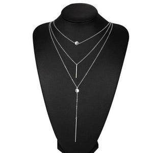 Silver vertical gold bar necklace