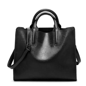 Black womens leather tote bag