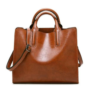 Brown womens leather tote bag