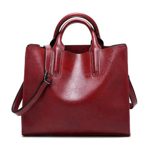 Red womens leather tote bag