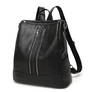 Black backpack with top eopening