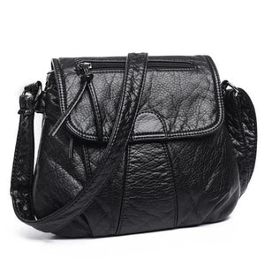 Flap black leather bag