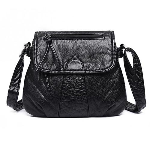 Black leather flap bag with triple compartment