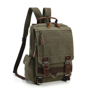 Army green canvas backpack sling bag
