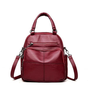 Red vegan leather convertible backpack purse