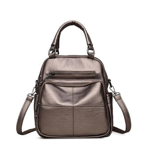 Bronze vegan leather convertible backpack purse