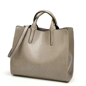 Gray womens leather tote bag