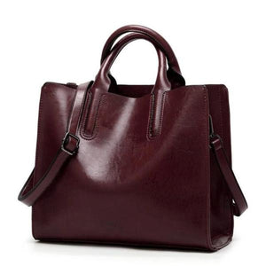 Chocolate womens leather tote bag