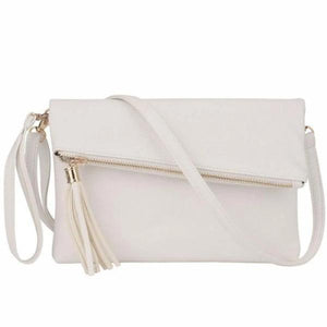 Beige leather clutch with crossbody strap