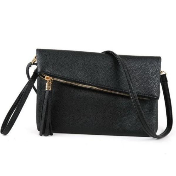 Black leather clutch with crossbody strap