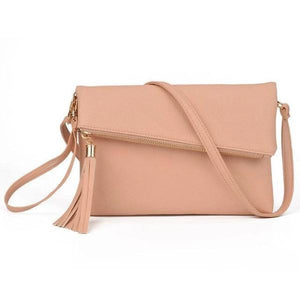Pink leather clutch with crossbody strap