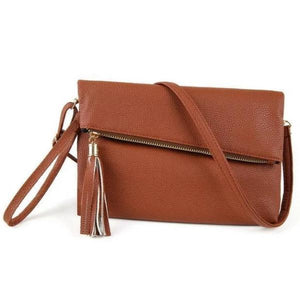 Brown leather clutch with crossbody strap