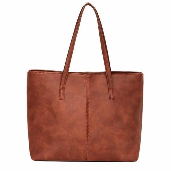 Brown cheap faux leather tote bags
