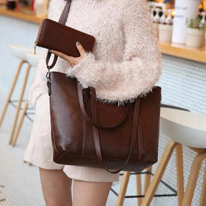 Dark brown crossbody leather tote bag with wallet set