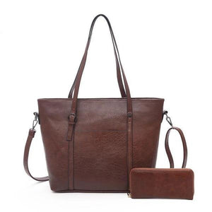 Dark brown tote bag with wallet set