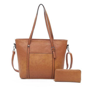 Brown tote bag with wallet
