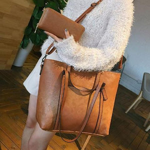 Brown crossbody leather tote bag with wallet set