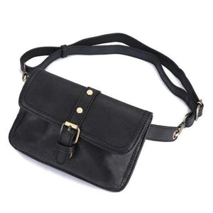 leather women black fanny pack belt bag cute waist pack