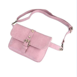 leather women pink fanny pack belt bag cute waist pack