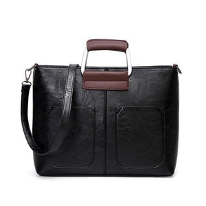 Black small tote bags leather