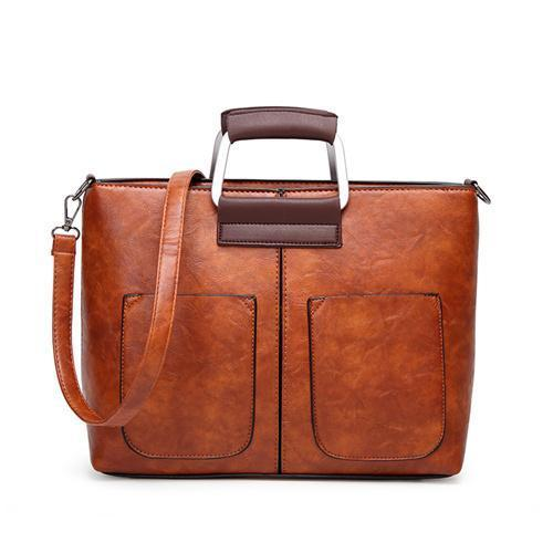 women leather tote bag laptop work large crossbody messenger brown