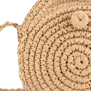 Straw bag with pompom