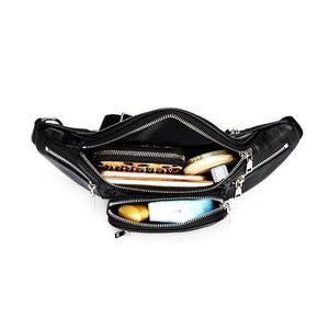 black fanny pack with lot of compartments
