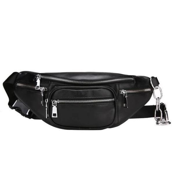 Black leather fanny pack with chain belt