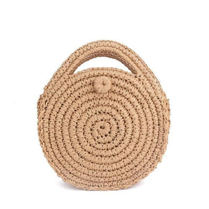Brown round straw crossbody bag for women